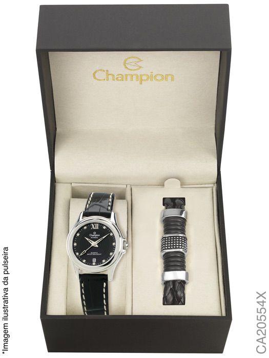 Relógio Champion Feminino CA20554X Couro Preto + Pulseira