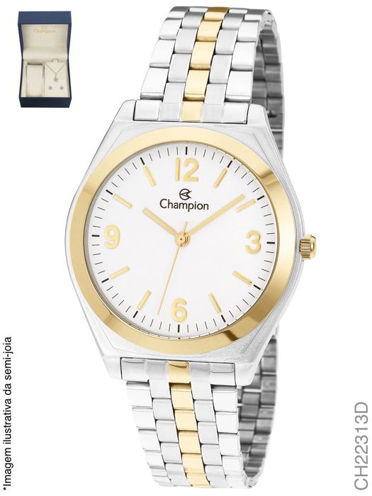 Relógio Champion Feminino Ch22313d + Kit Colar e Brincos