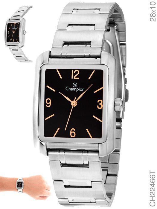 Relógio Champion Feminino Ch22466t Prata Quadrado Fundo Preto