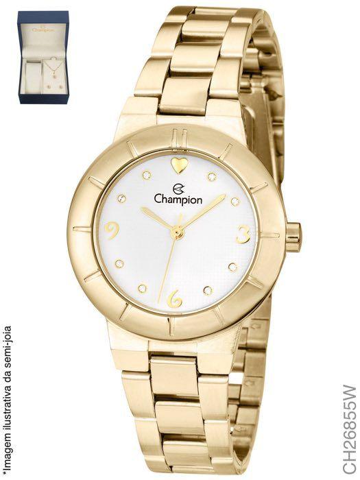Relógio Champion Feminino + Conjunto Semi Joia CH26855W