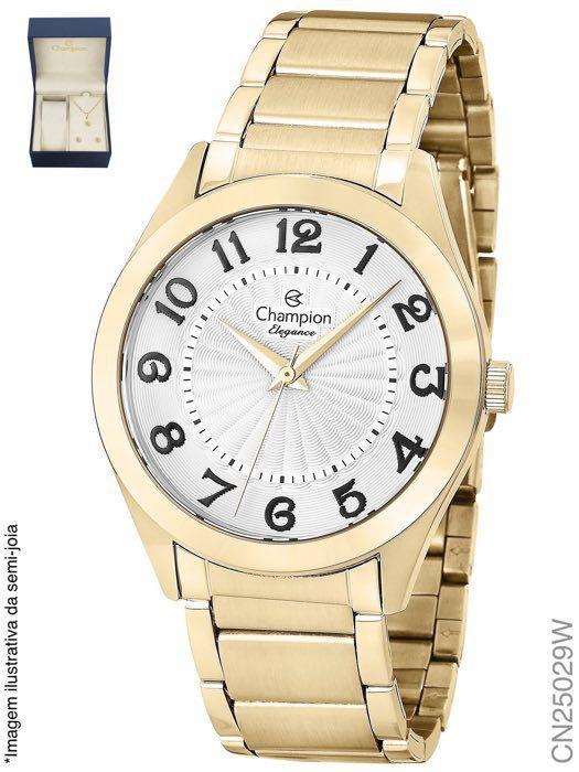 Relógio Champion Feminino + Conjunto Semi Joia CN25029W
