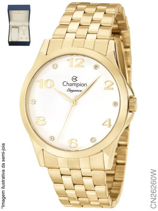 Relógio Champion Feminino + Conjunto Semi Joia CN26260W