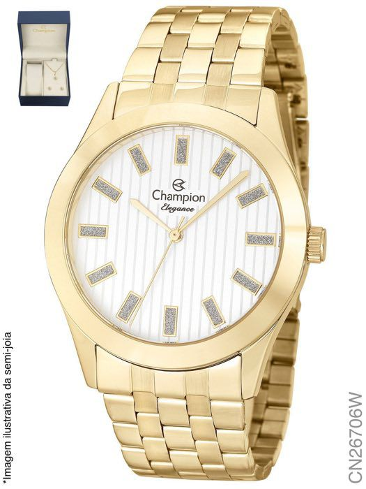 Relógio Champion Feminino + Conjunto Semi Joia CN26706W
