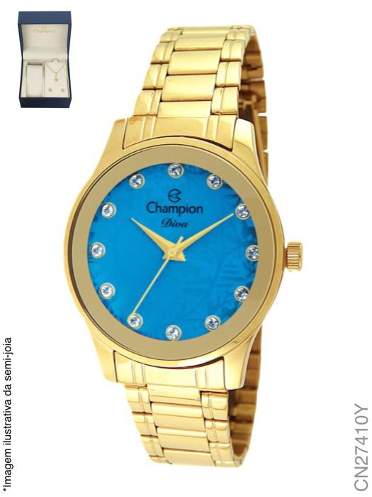 Relógio Champion Feminino + Conjunto Semi Joia CN27410Y