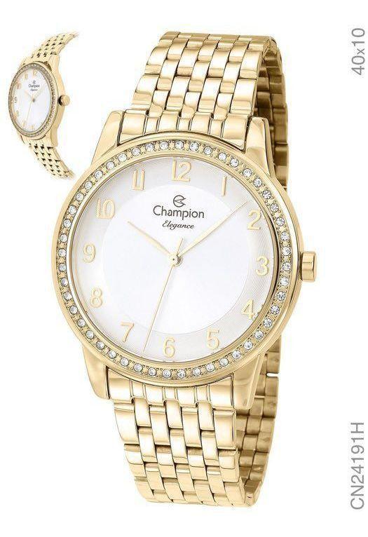 Relogio Champion Feminino Dourado Banhado Ouro Cn24191h