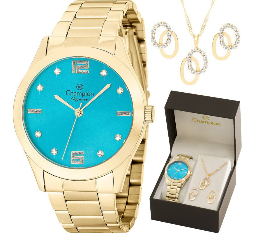 Relógio Champion Feminino Dourado Cn25145y + Kit 1 Ano de Garantia Prova Dágua