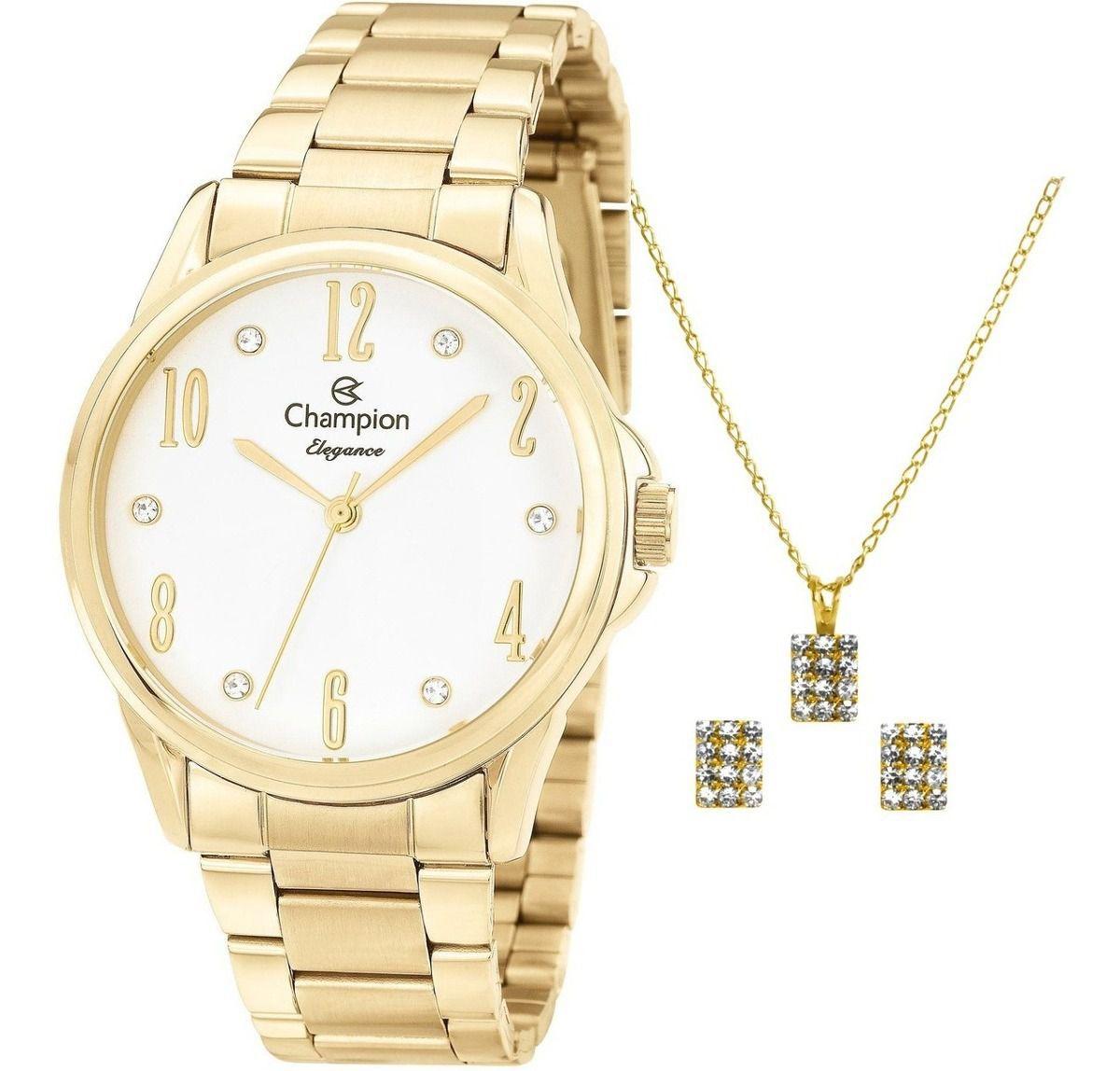 Relógio Champion Feminino Dourado Cn26242w + Kit Semijoias
