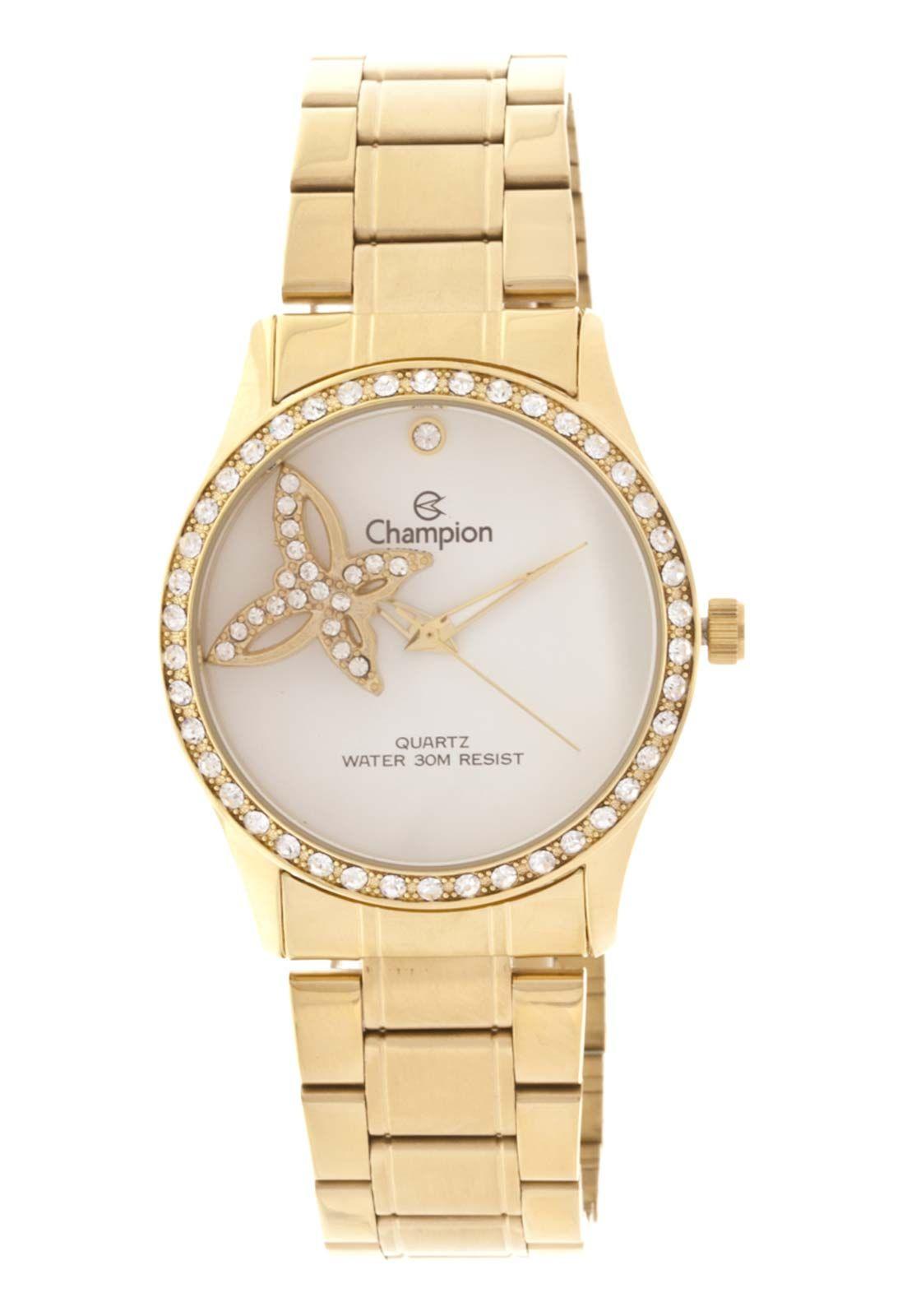 Relógio Champion Feminino Dourado com Pingente Borboleta CH25892H