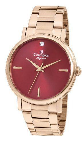 Relógio Champion Feminino Dourado com Visor Rosa CN25896I