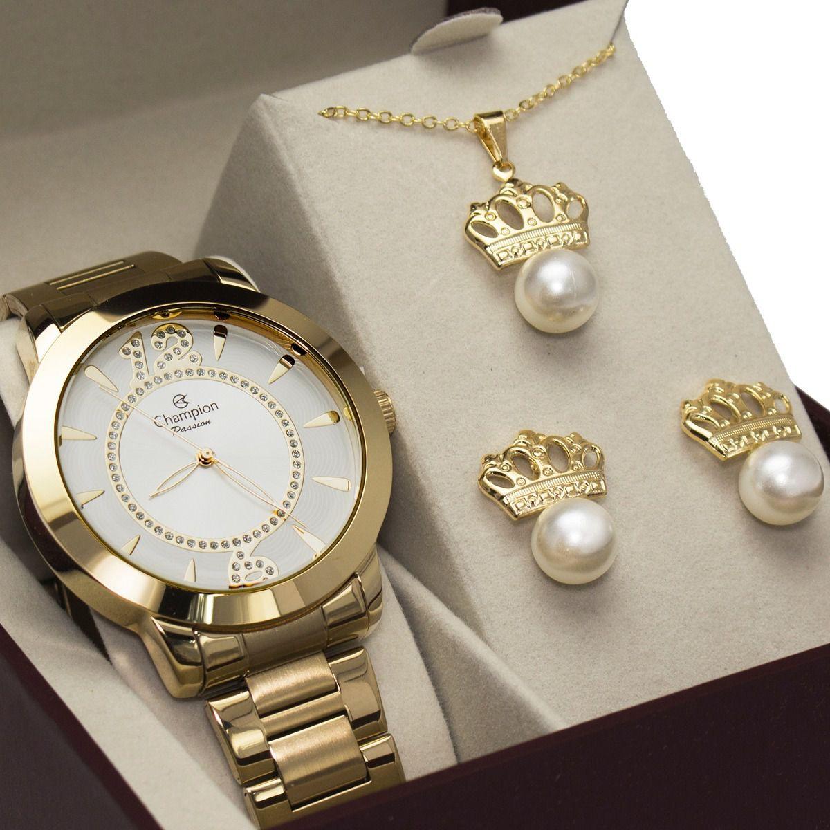 Relógio Champion Feminino Dourado Passion Ch24259d + kit Colar/brinco