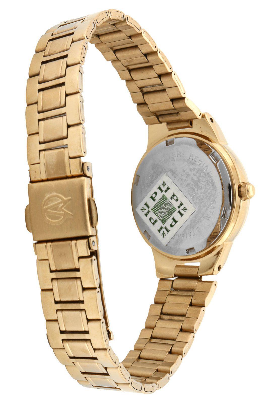 Relógio Champion Feminino Dourado Visor Azul CH24946F