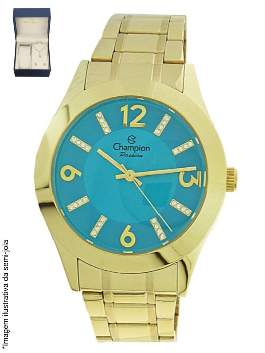 Relógio Champion Feminino Dourado Visor Azul CN28713Y