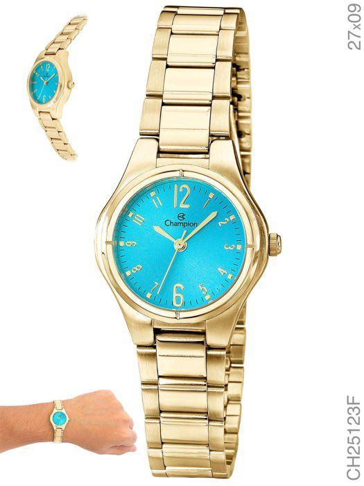 Relógio Champion Feminino Dourado Visor Azul Social CH25123F