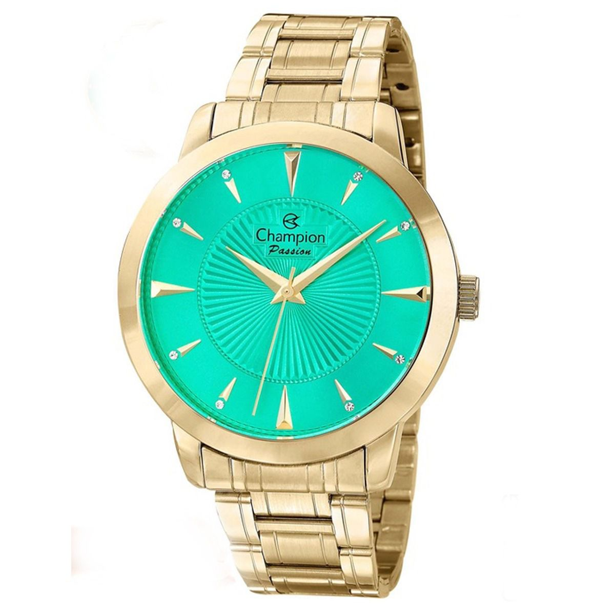 Relógio Champion Feminino Dourado Visor Verde CN29258G