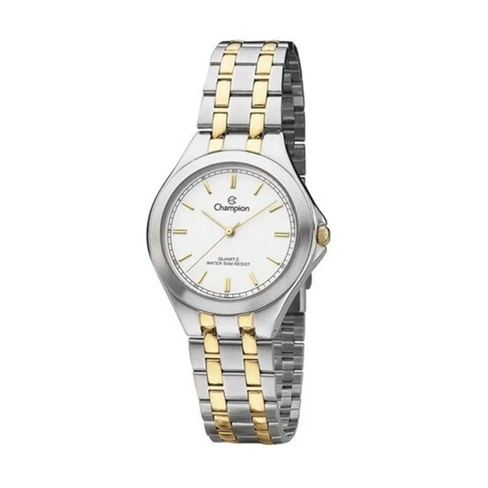 Relógio Champion Feminino Misto Dourado Prata Dial Branco + Conjunto Semi Joia