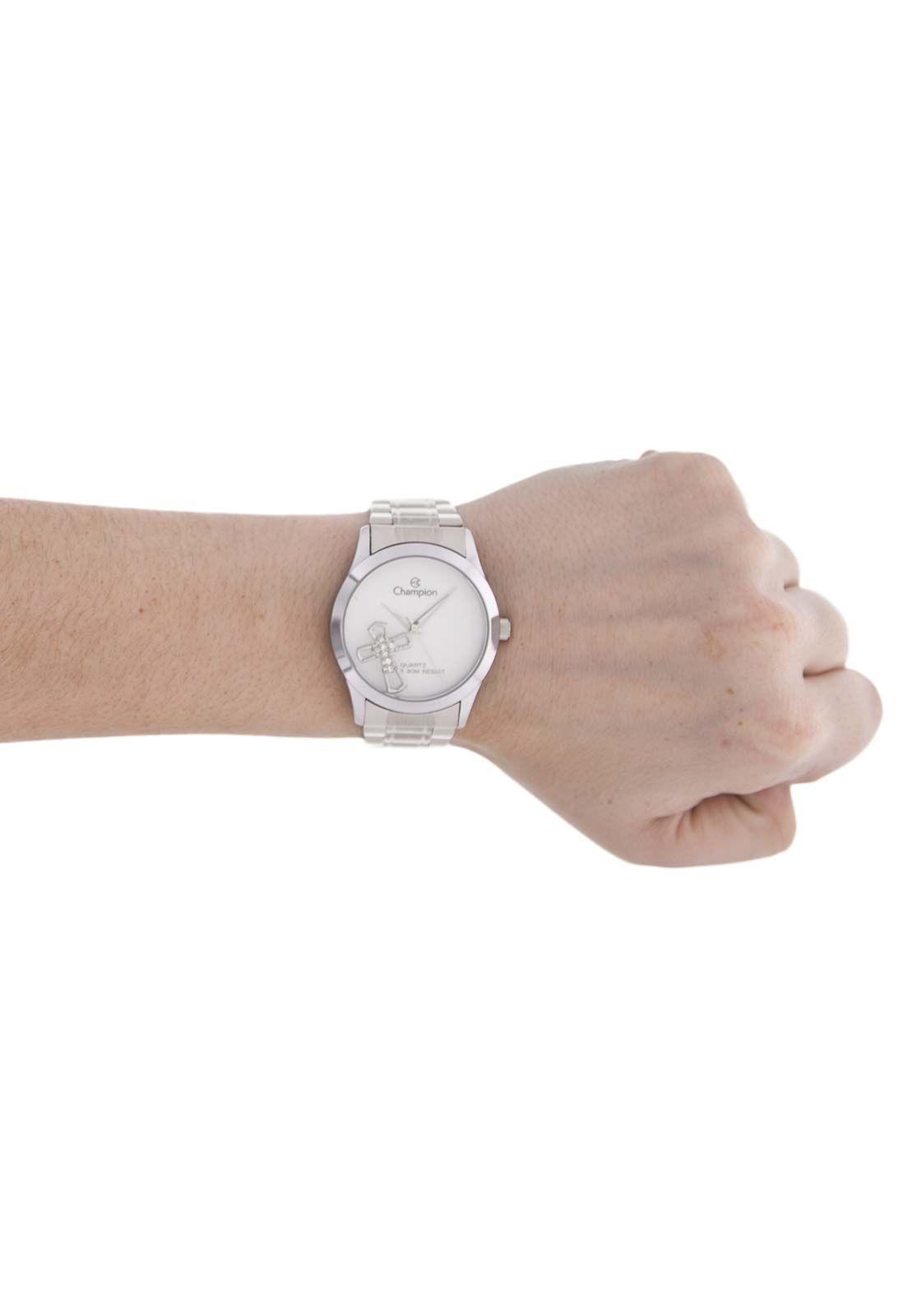 Relógio Champion Feminino Prata com Pingente Cruz CH25909Q