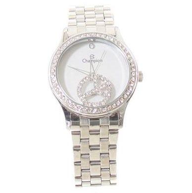 Relógio Champion Feminino Prata com Pingente no Visor CH25785Q