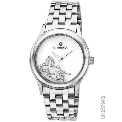 Relógio Champion Feminino Prata com Pingente Peixe CH25794Q