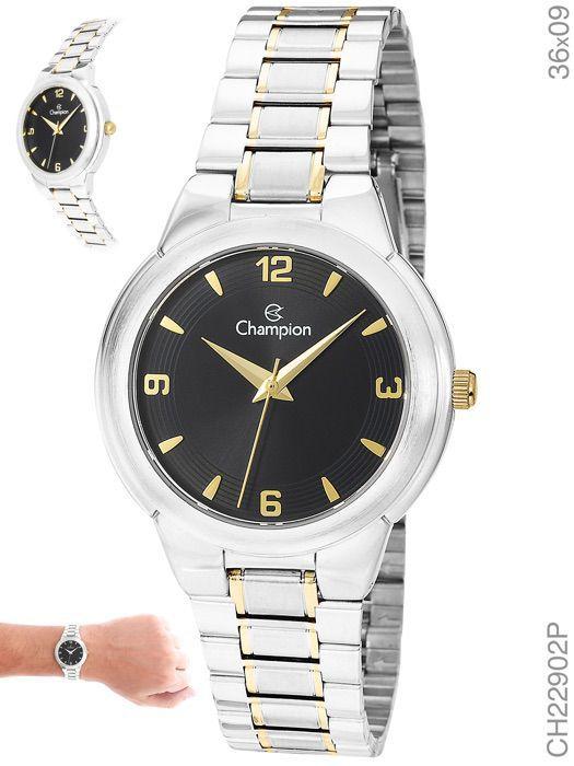 Relógio Champion Feminino Prata Fundo Preto Ch22902p