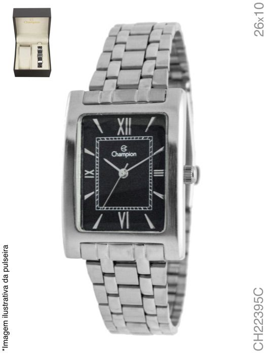 Relógio Champion Feminino Quadrado Ch22395C Prata Fundo Preto