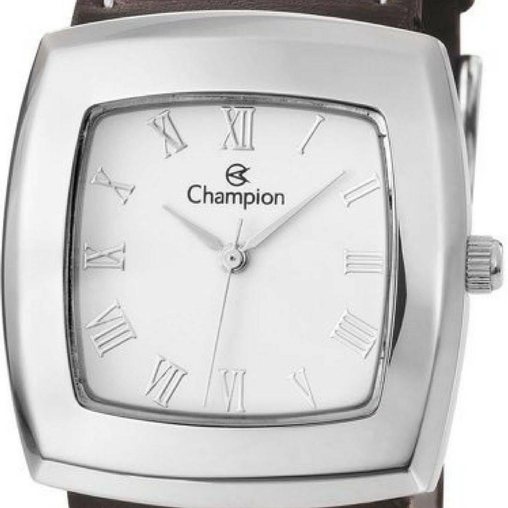 Relógio Champion Feminino Quadrado Prateado Couro CH25650Q