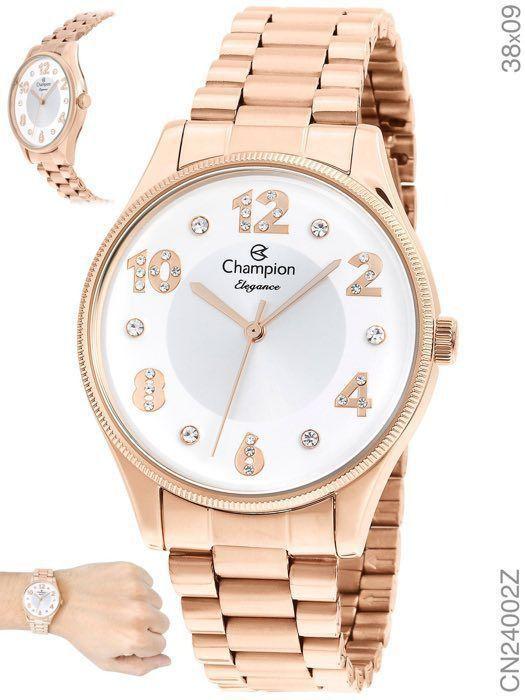 Relogio Champion Feminino Rose Elegance Cn24002z Prova D'água