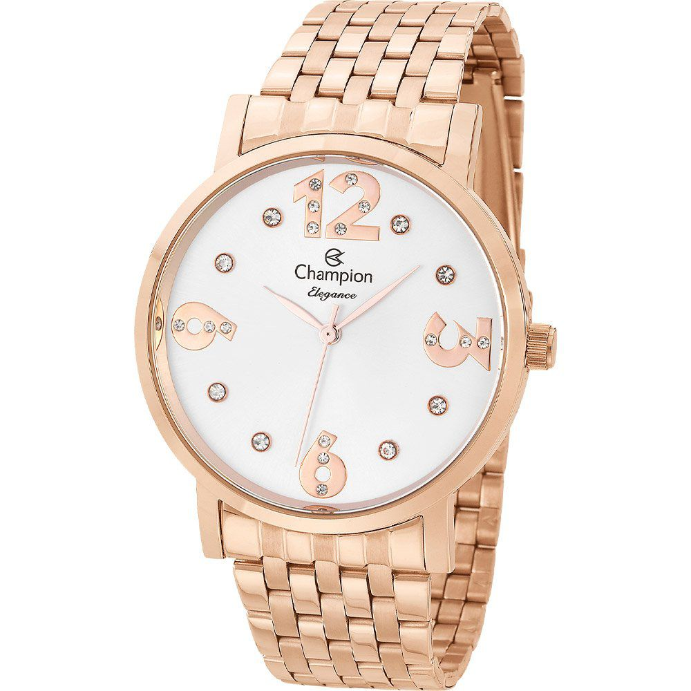 Relógio Champion Feminino Rosê Gold Elegance CN24262Z Prova D'Água Ouro Rosê Garantia