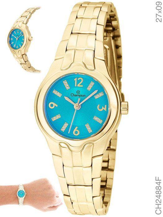 Relógio Champion Feminino Social CH24884F Dourado Fundo Azul