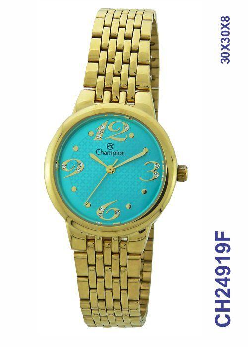 Relógio Champion Feminino Social CH24919F Dourado Fundo Azul