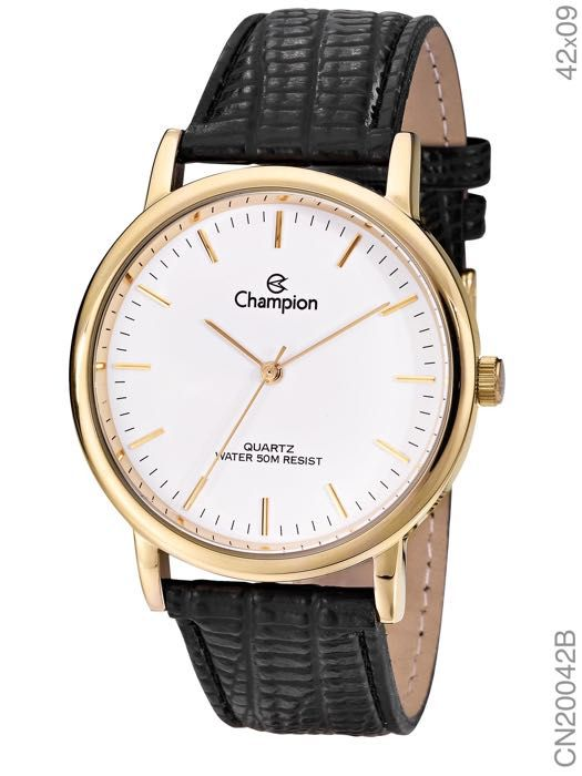 Relógio Champion Feminino Social Couro CN20042B Dourado e Preto
