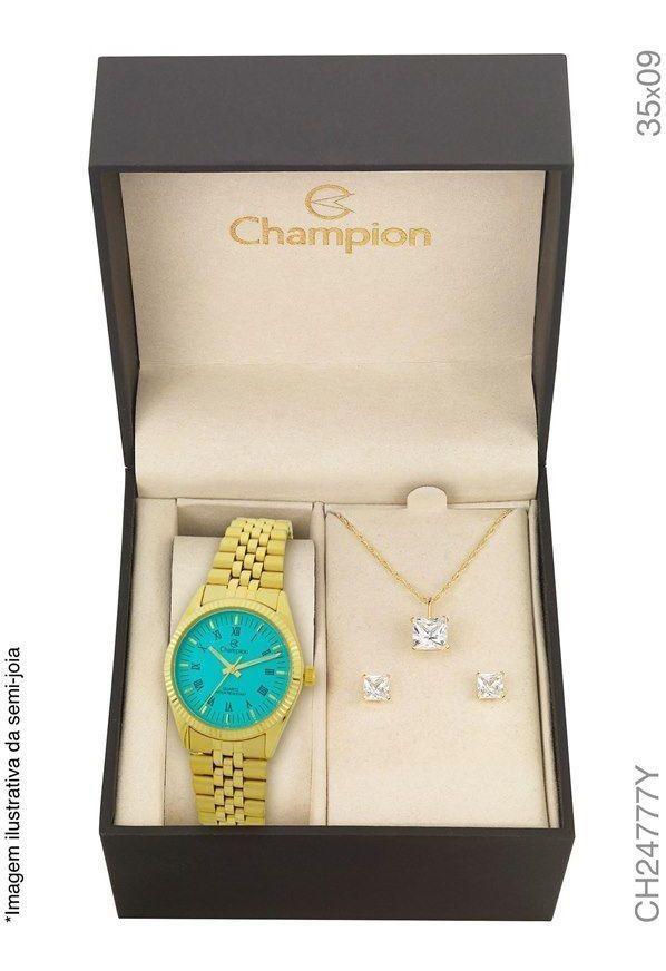 Relógio Champion Kit Feminino Aço Brinde Semijóia Ch24777y Garantia Prova Dágua