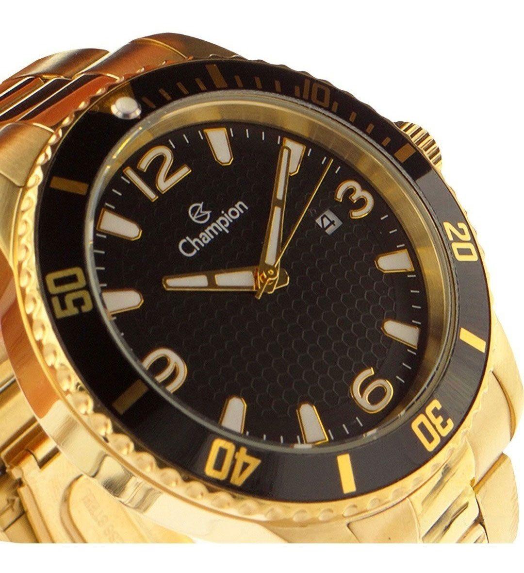 Relógio Champion Masculino Ca31515u Casual Dourado Fundo Preto
