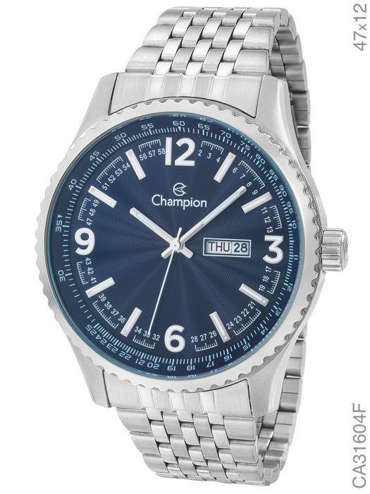 Relógio Champion Masculino Prata com Visor Azul CA31604F