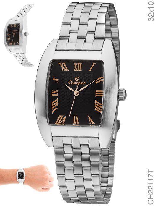 Relógio Champion Masculino Quadrado CH22117T Prateado