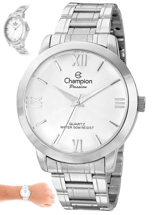 Relógio Champion Original Prata Fundo Branco CN28704Q
