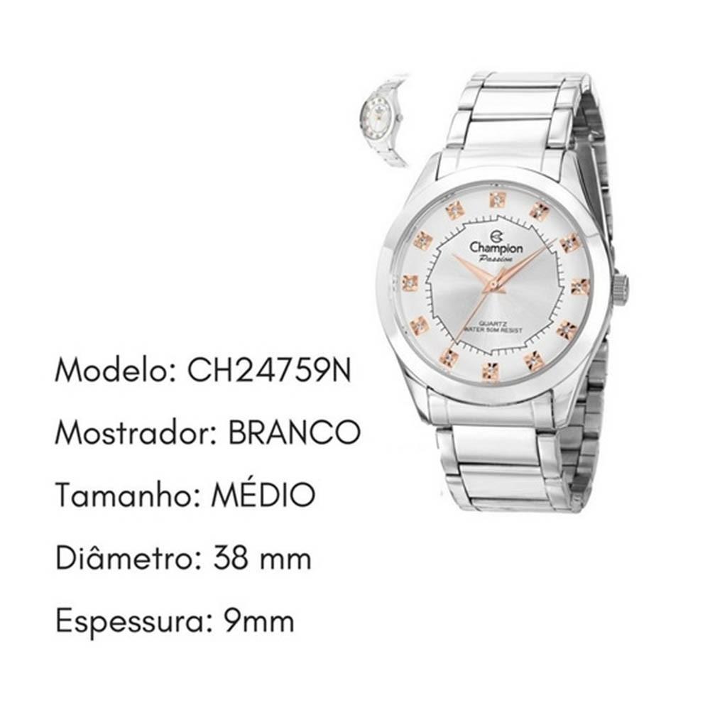 Relógio Champion Passion Feminino Prateado Original Ch24759n