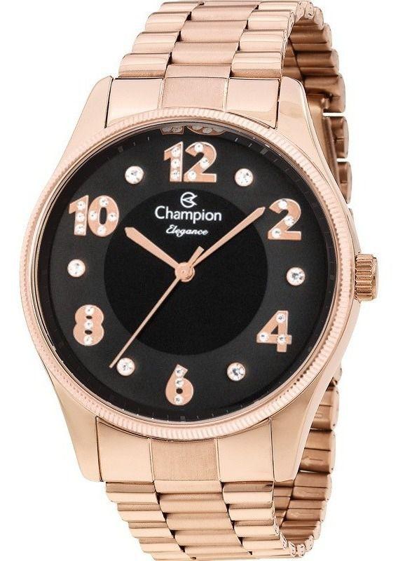 Relógio Champion Rosê Gold Feminino Cn24002p Dourado Analógico Prova D'água