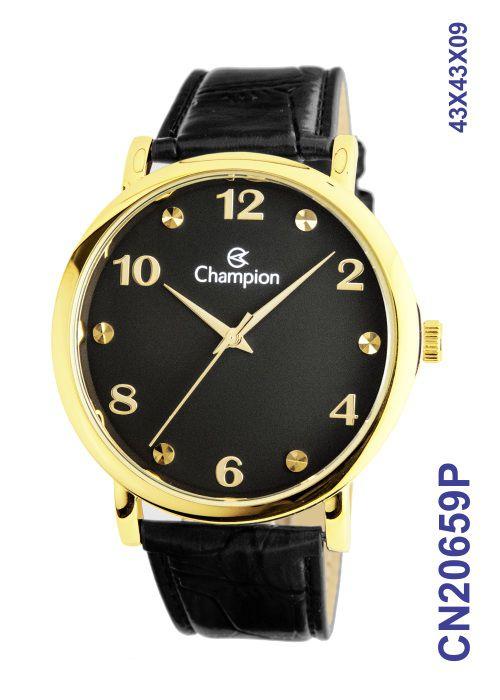 Relógio Champion Social CN20659P Dourado Fundo Preto