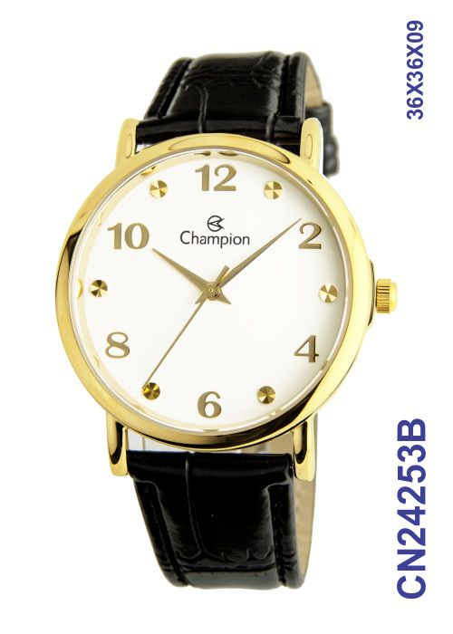 Relógio Champion Social CN24253B Dourado Pulseira Couro