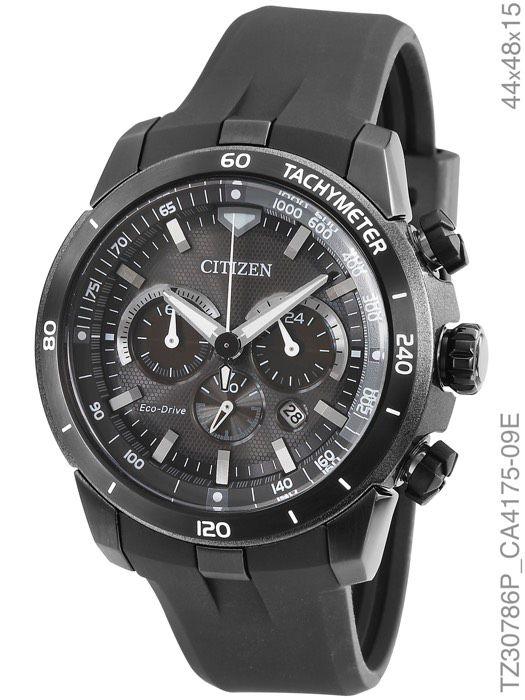 Relógio Citizen Eco Drive TZ30786P Cronógrafo Preto