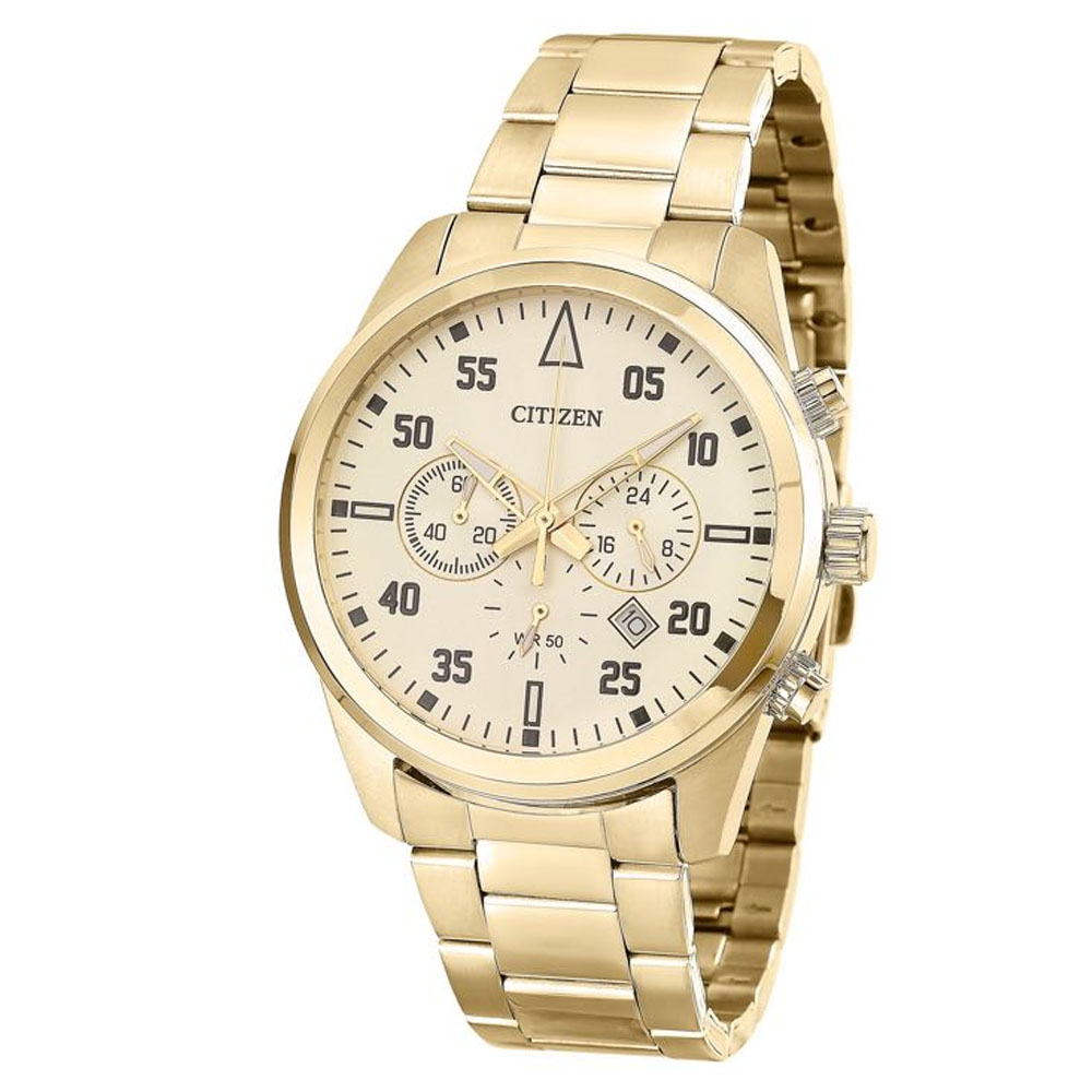 Relógio Citizen Masculino Preto Dourado Ouro Original Garantia