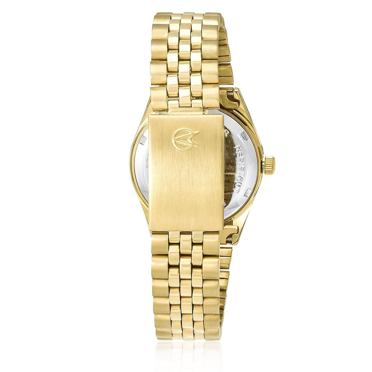 Relógio Feminino Champion Analógico CH24777L Dourado Com Fundo Rosa Prova Dágua