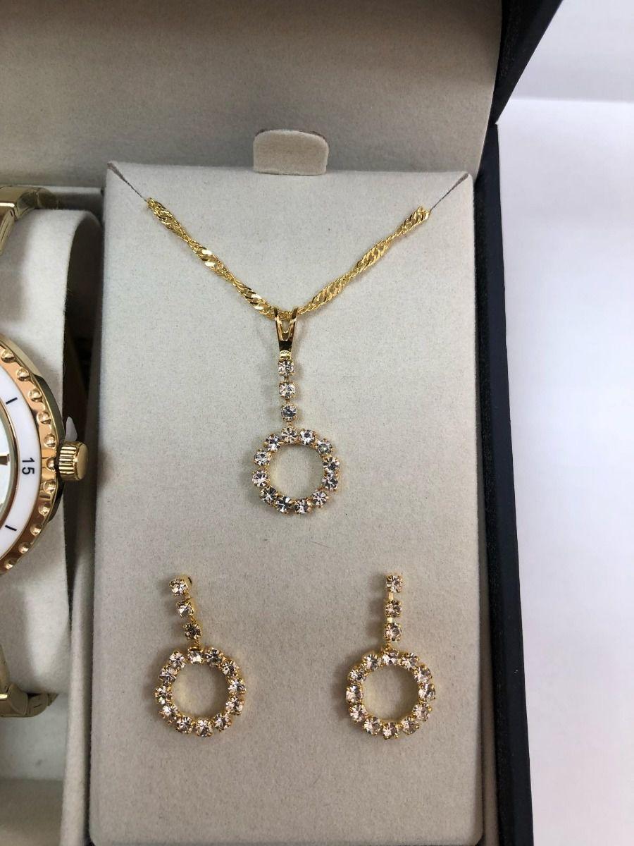 Relógio Feminino Champion Cn27438w + Kit Colar E Brinco