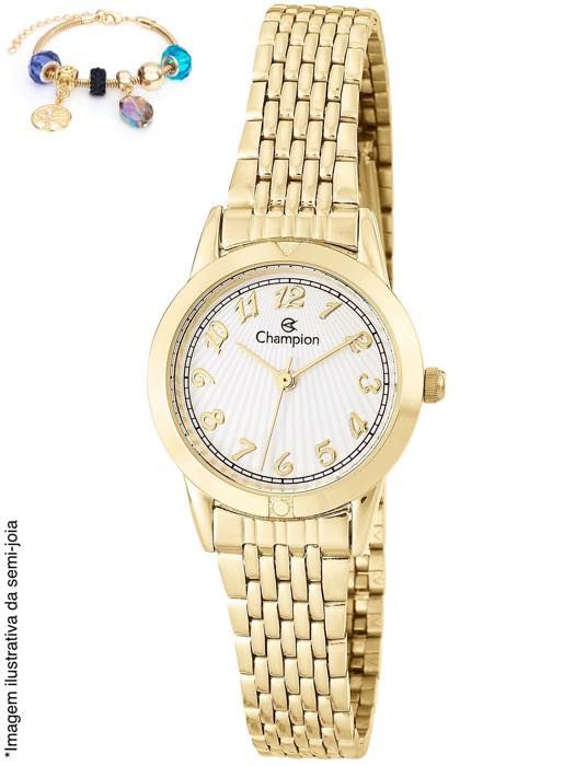 Relógio Champion Feminino Social Dourado Cn27643s + Pulseira Bijuteria
