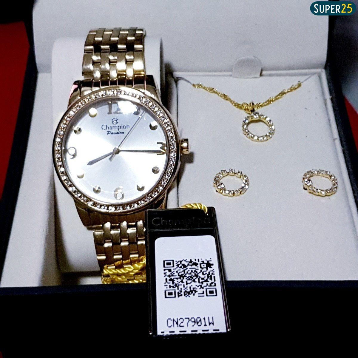 Relógio Feminino Champion Cn27901w Dourado + Colar E Brincos
