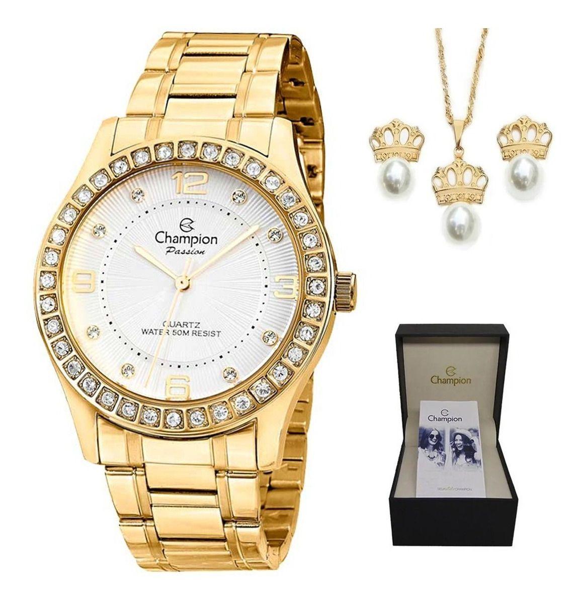 Relógio Feminino Champion Dourado + Colar E Brincos Cn29187w