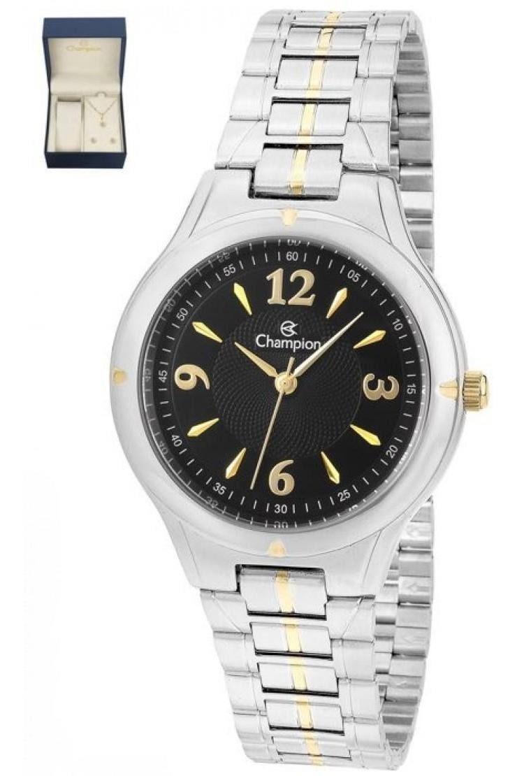 Relógio Feminino Champion Fundo Preto+ Kit Cn20499k Garantia Prova Dágua