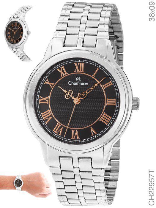 Relógio Feminino Champion Prata e Algarismo Dourado Ch22957t