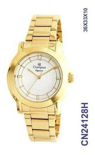 Relógio Feminino Dourado Champion Analógico Cn24128h Prova D'água
