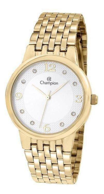 Relógio Feminino Dourado Champion Ouro Cn24146h Prova D'água